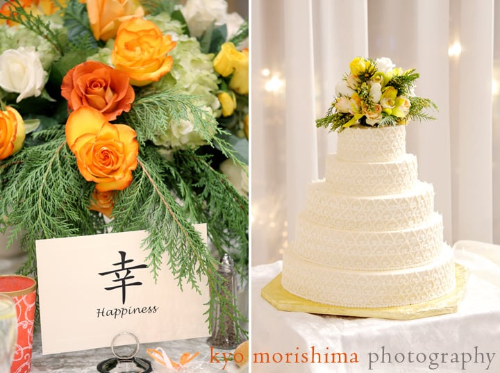 Floral centerpiece and wedding cake at the Nassau Inn, photographed by Kyo Morishima.