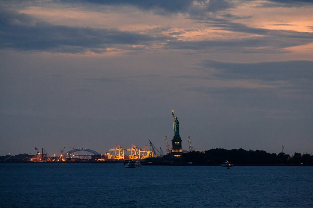 Statue of Liberty from Battery Garden wedding NYC