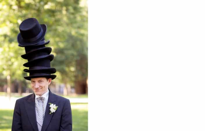 6 silk hats on groom, Princeton University, NJ