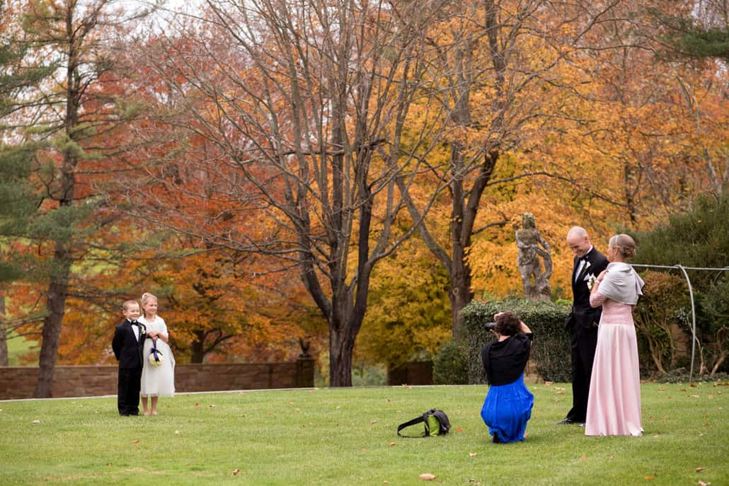 Flower girl and ring bearer family picture, at Jasna Polana wedding, Princeton, NJ