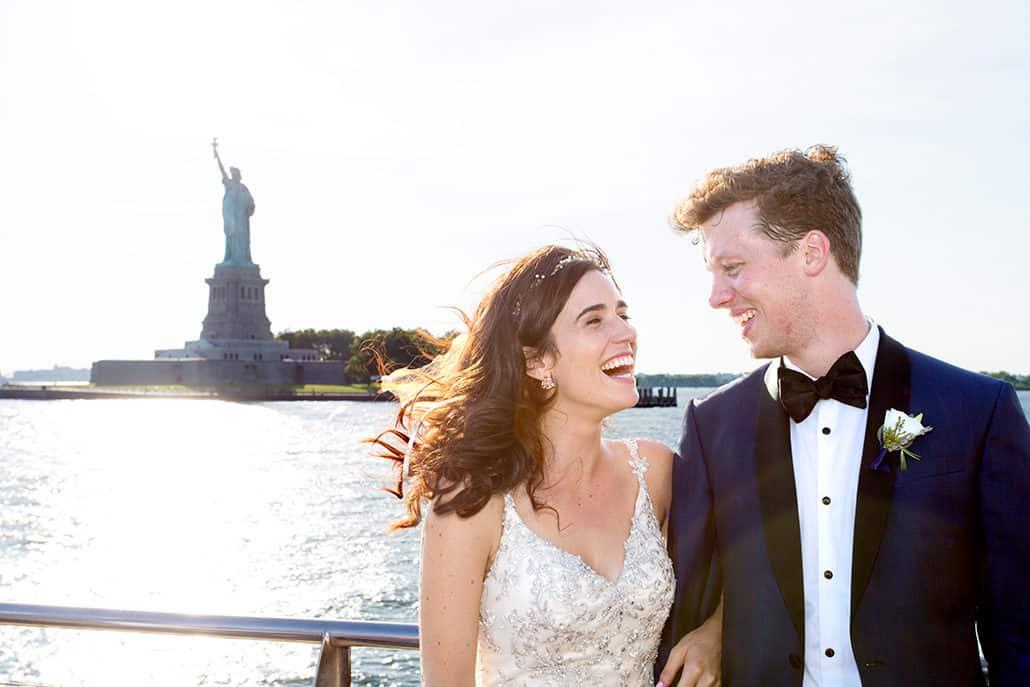 Statue of Liberty wedding portrait, NYC cruise
