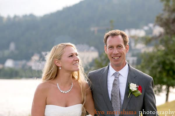 Bride and groom portrait outside Waldhaus Hotel, St. Moritz, Switzerland, photographed by destination wedding photographer Kyo Morishima
