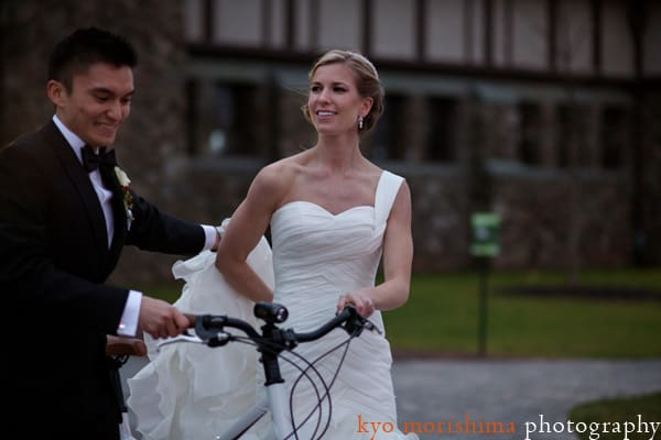 Bride and groom with mountain bike at Duke Farms, photographed by NJ wedding photographer Kyo Morishima