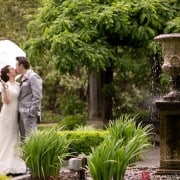 Van Vleck Gardens wedding picture in the rain, photographed by Montclair wedding photographer Kyo Morishima