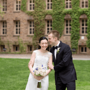 Bride and groom laugh during portrait session on Princeton University campus, photographed by Kyo Morishima