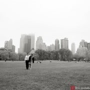 Central Park engagement picture on a misty day, photographed by NYC engagement photographer Kyo Morishima