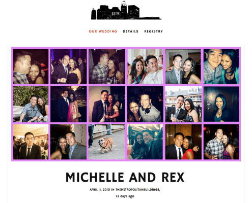 Michelle and Rex wedding website header