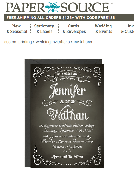 papersource wedding invitation