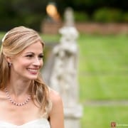 Closeup portrait of bride smiling at Jasna Polana, photographed by Princeton wedding photographer Kyo Morishima