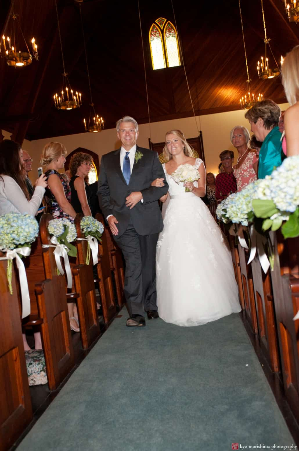Bride And Father Process Down The Aisle At Holy Trinity Episcopal Church Wedding In Spring Lake