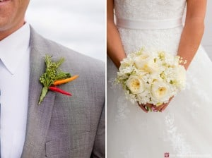 Wedding bouquet and boutonniere by Dahlia's Flowers, photographed by Kyo Morishima