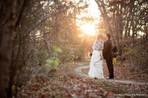 Golden hour fall wedding picture at New Jersey Audubon Plainsboro Preserve, photographed by Kyo Morishima