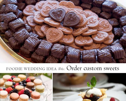 Foodie wedding idea: order custom sweets. Thomas Sweet chocolates, macarons, and berry cup pastry photographed by Kyo Morishima