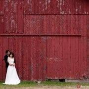 Red barn wedding portrait in Sherman, CT, photographed by Kyo Morishima