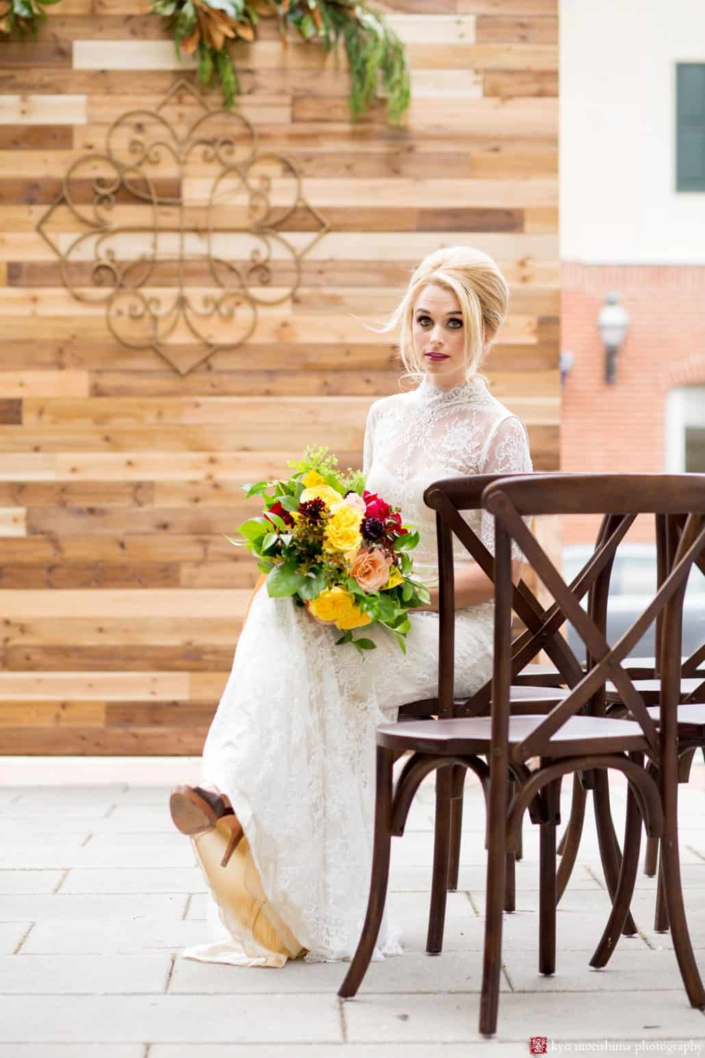 Madmen wedding styled shoot at the Nassau Inn. Bride wearing BHLDN Bridgette wedding gown with bouquet by Kristin Rockhill of Details of I Do, hair by Letitia Kakas, makeup by Gena Verde Longo, photographed by Kyo Morishima