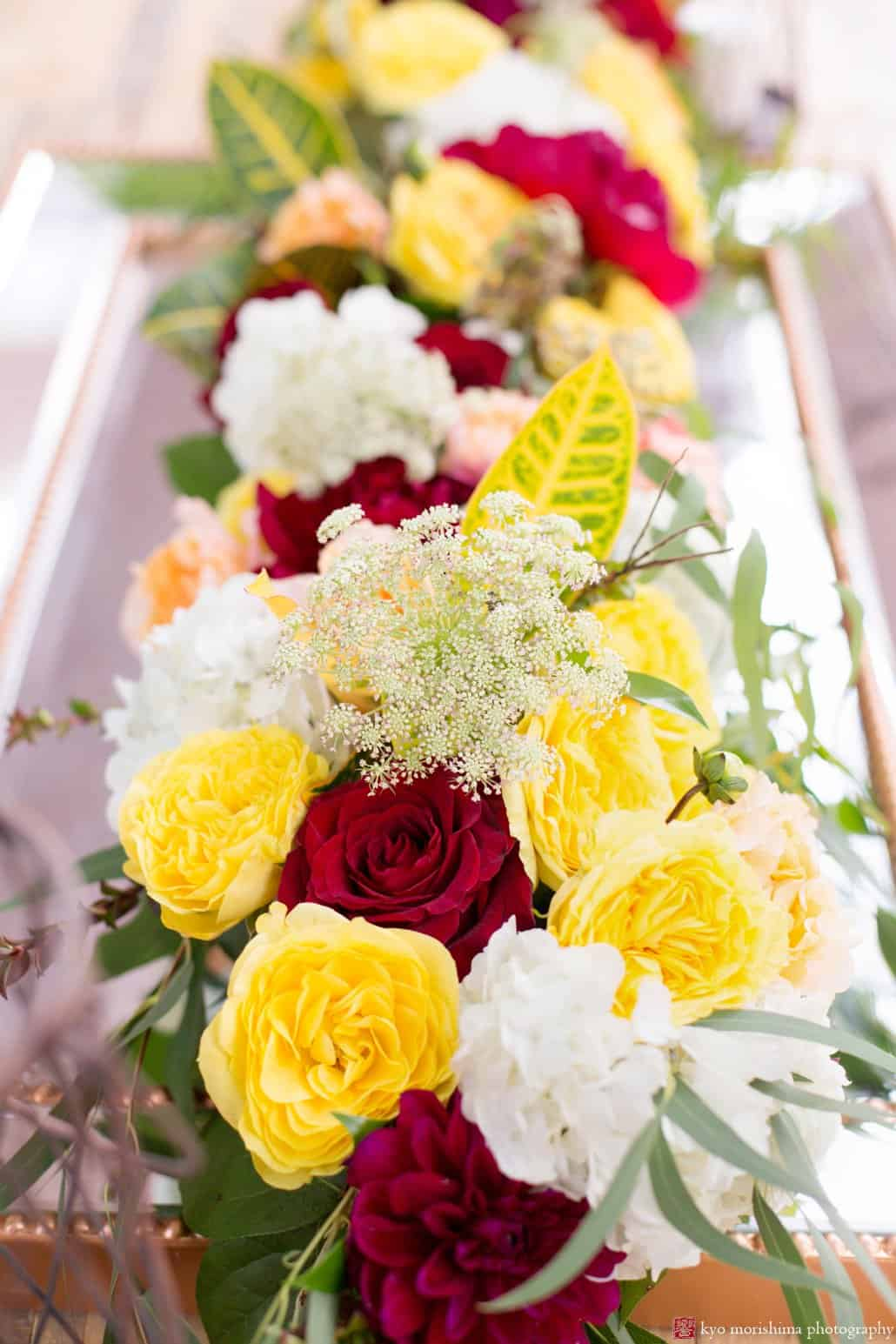 Maroon, gold, and white flower tabletop centerpiece by Kristin Rockhill of Details of I do, photographed by Kyo Morishima