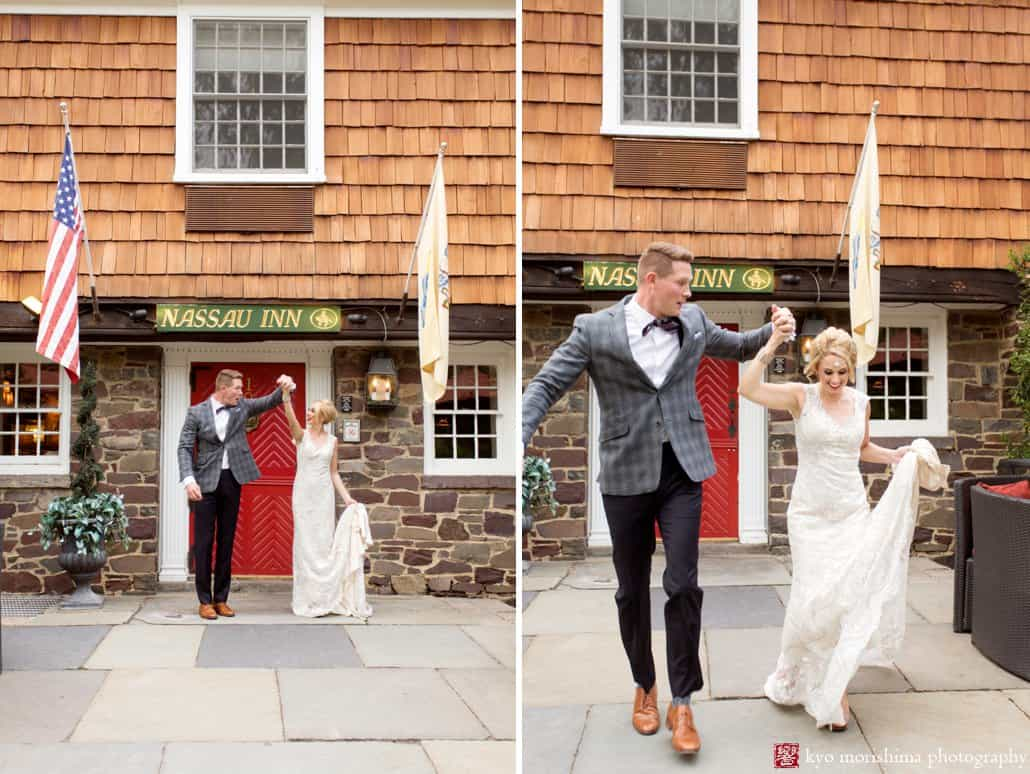 Bride and groom outside the Nassau Inn red door during Madmen wedding photo shoot styled by Kristin Rockhill of Details of I Do. Bride wears BHLDN Amalia gown. photographed by Kyo Morishima