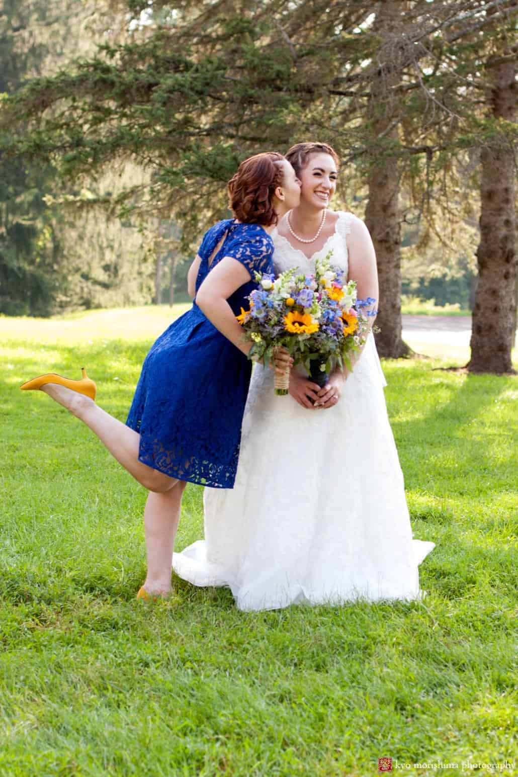 Maid of honor wearing royal blue bridemaid dress with yellow heels ...