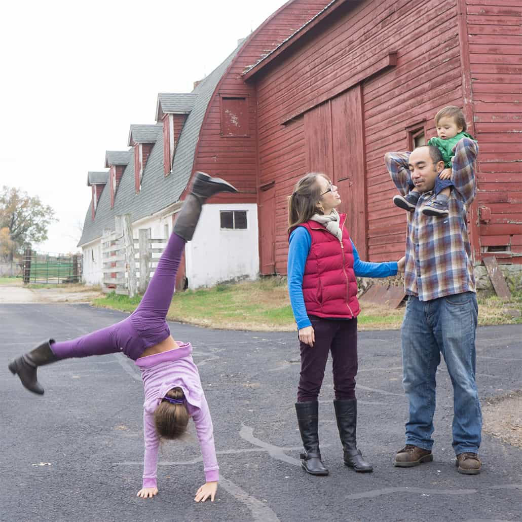 Candid family portraits at Readington River Farm in New Jersey