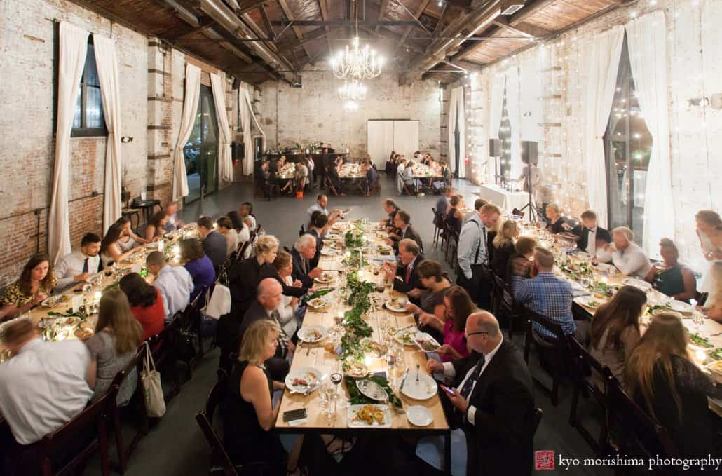 Building Wedding In Brooklyn Guests Enjoy Food By The Night Kitchen Catering At Loft Style Green