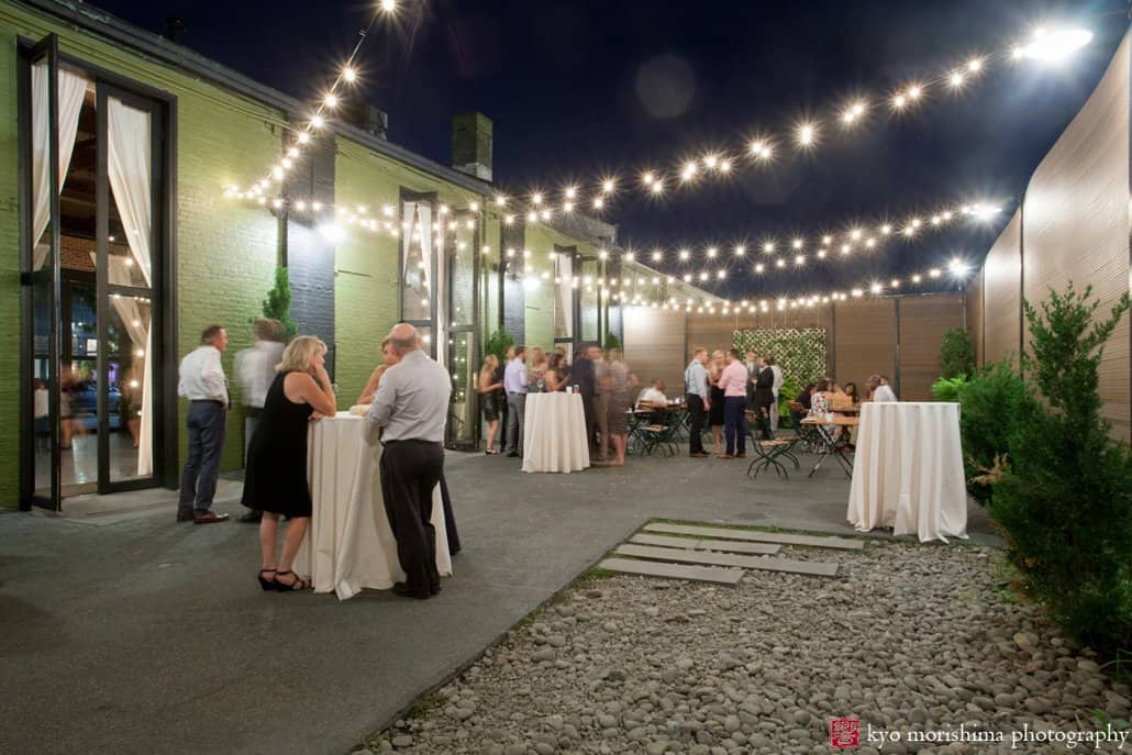Wide View Of Courtyard With String Lights At Brooklyn Wedding Venue The Green Building