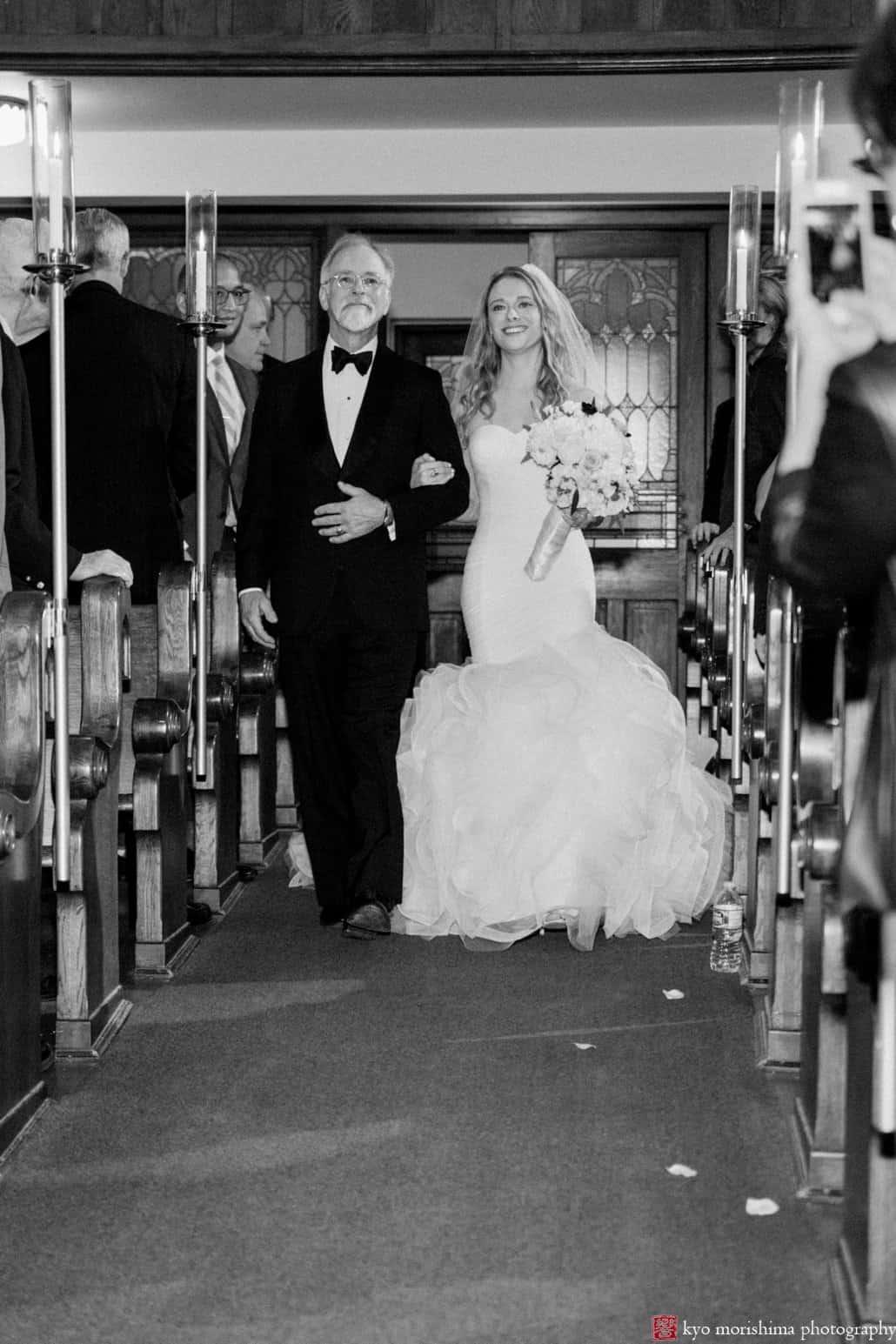 Bride walks down the aisle at Princeton United Methodist Church