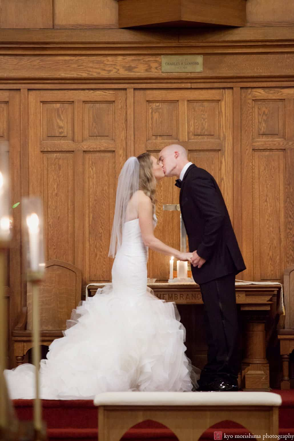 Bride and groom kiss in Princeton United Methodist Church wedding photo by Kyo Morishima Photography