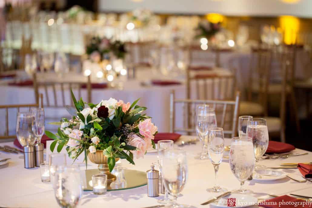 Cherry Valley Country Club wedding reception photo with centerpiece by Princeton florist Viburnum