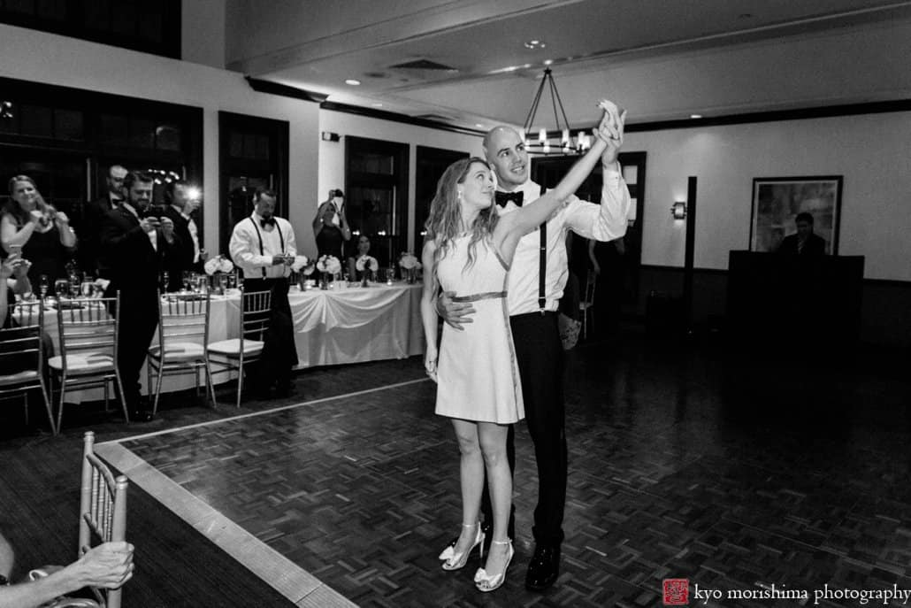 Bride and groom tango first dance at Cherry Valley Country Club in Princeton