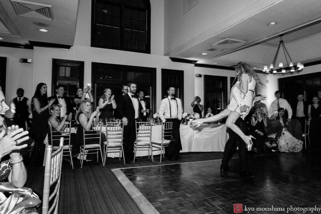 Dramatic moment during first dance tango at Cherry Valley Country Club wedding