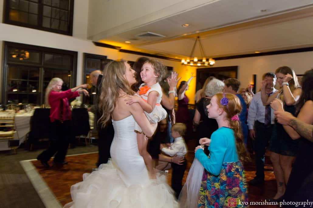 Bride dances with kids during Cherry Valley Country Club wedding with music by 74 Events