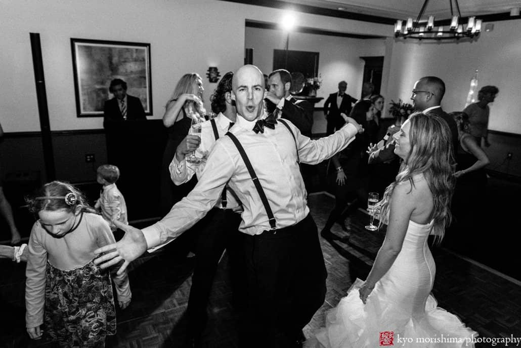 Bride and groom have a blast dancing together during Cherry Valley Country Club wedding in Princeton