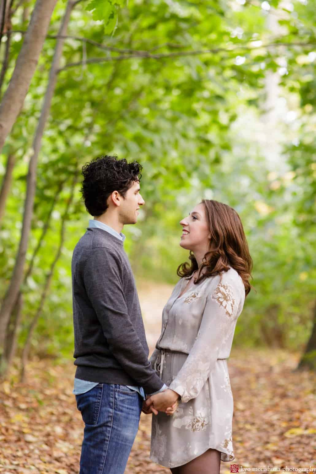 Fall engagement picture in Prospect Park, Brooklyn, photographed by Kyo Morishima