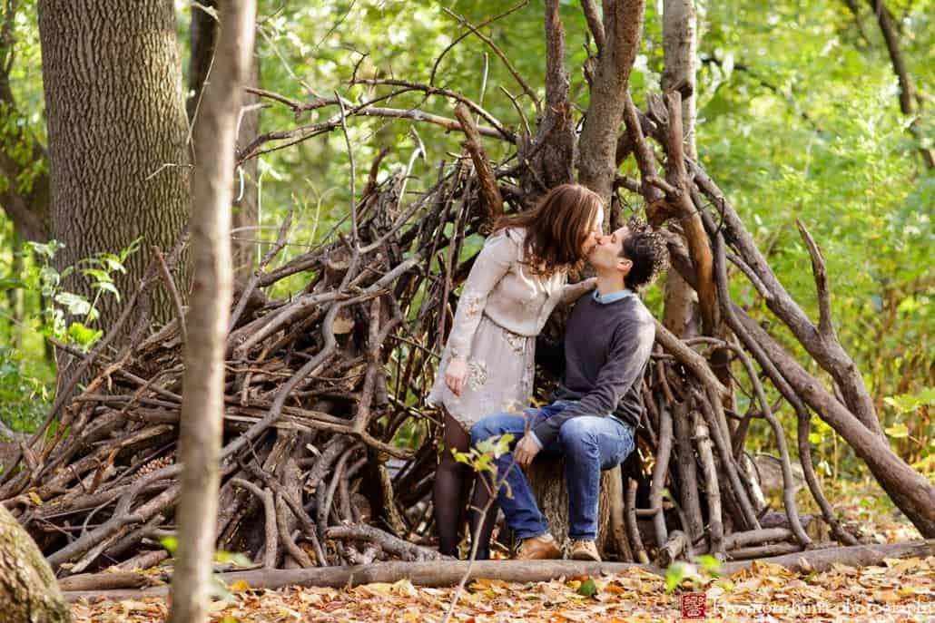 Prospect Park engagement session kiss photographed by Kyo Morishima