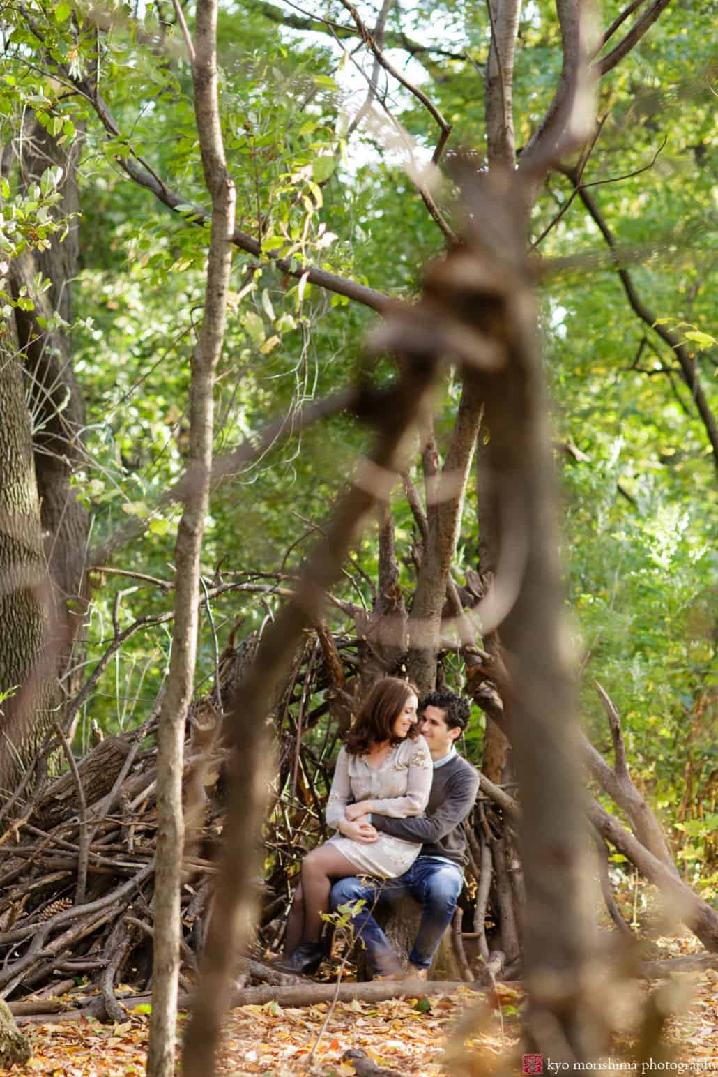 Prospect Park engagement session at a tree root lean-to photographed by Kyo Morishima
