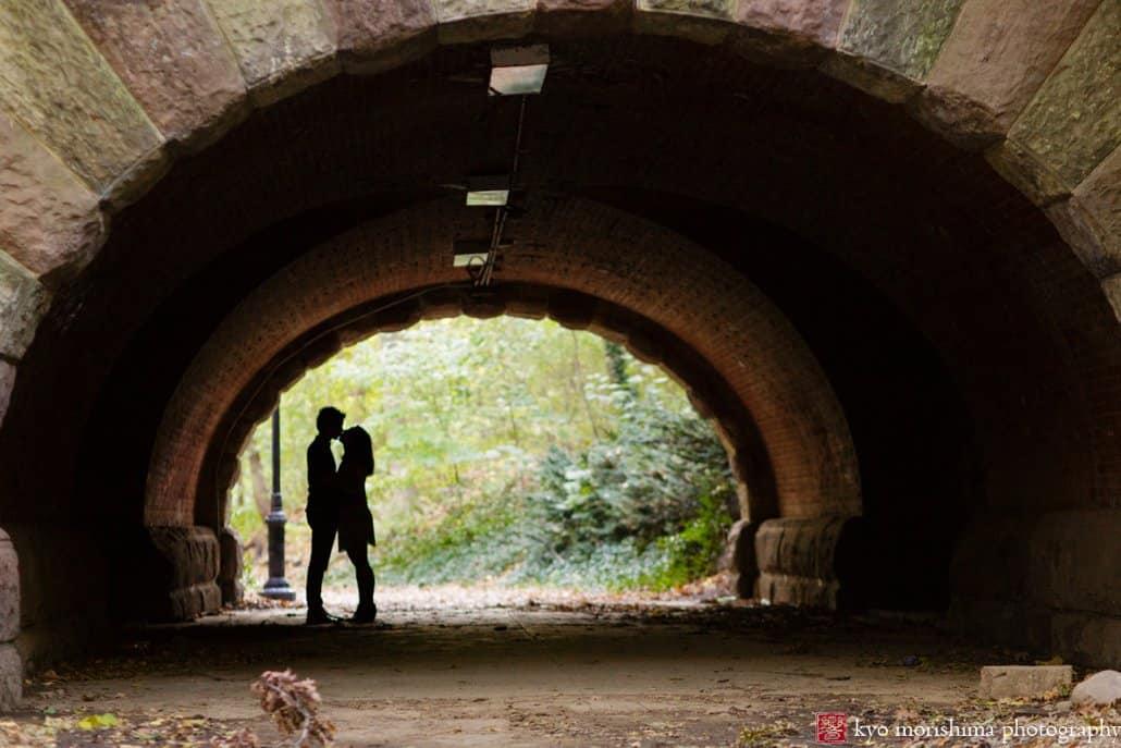 Under the bridge at Prospect Park engagement session photographed by Kyo Morishima