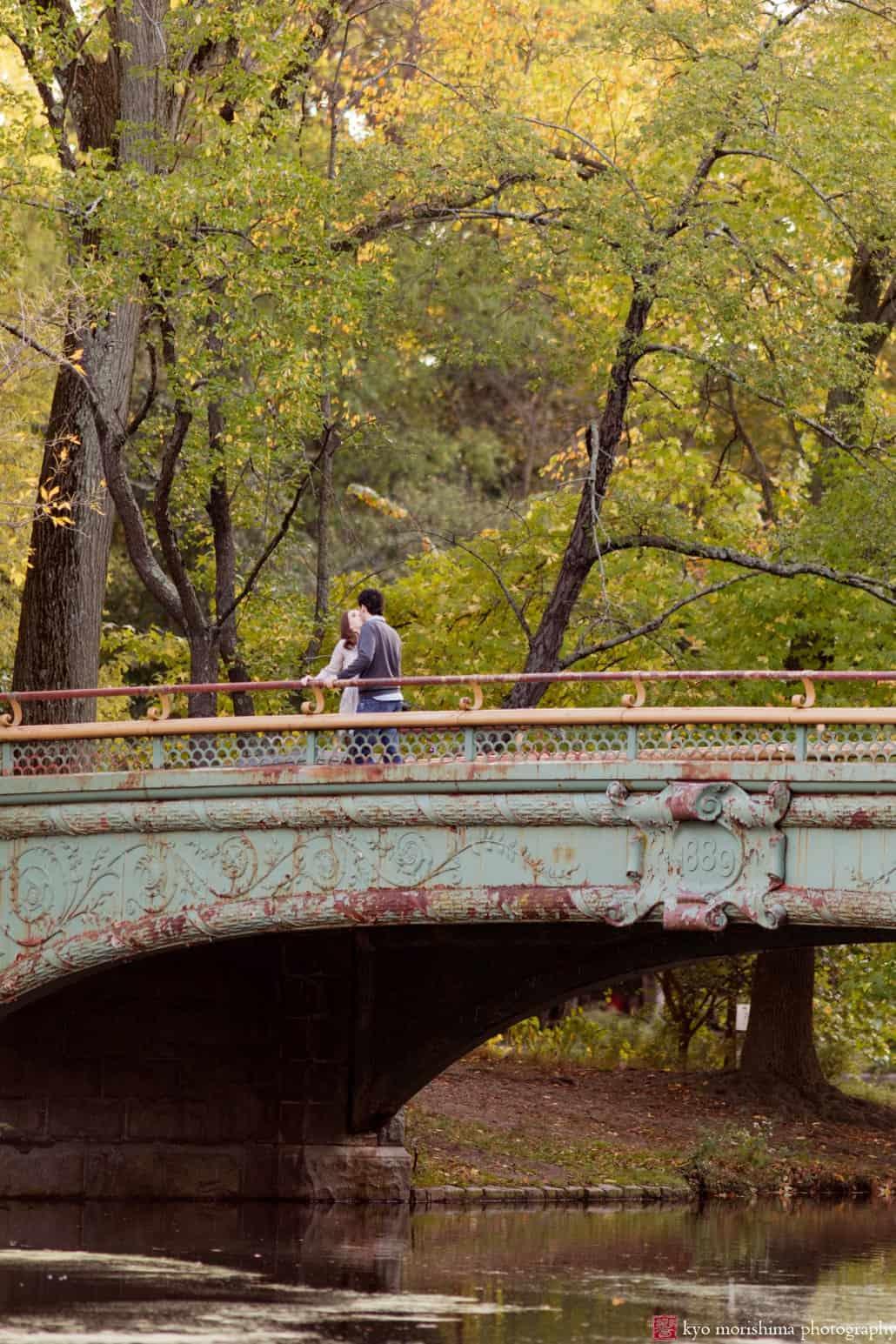 Engagement picture on Prospect Park bridge photographed by Kyo Morishima