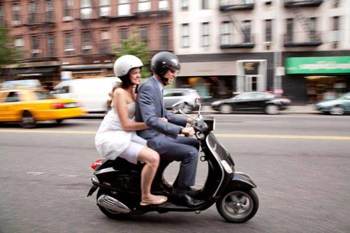 bride and groom on a vespa, nyc, street on their way to Governors Island Ferry Terminal by kyo morishima kmp6262011-072