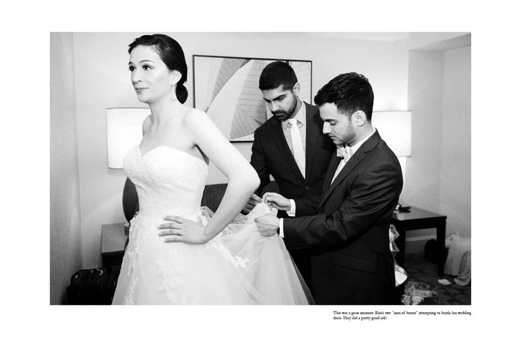 """Men of honor"" help bustle the bride as she gets ready for her wedding at Hyatt Regency Jersey City"