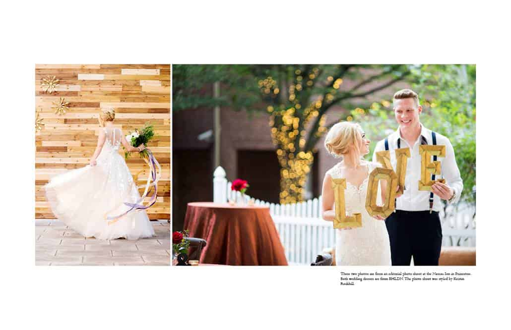 Bride wearing BHLDN wedding gown smiles and twirls during wedding photo shoot at the Nassau Inn styled by Kristin Rockhill