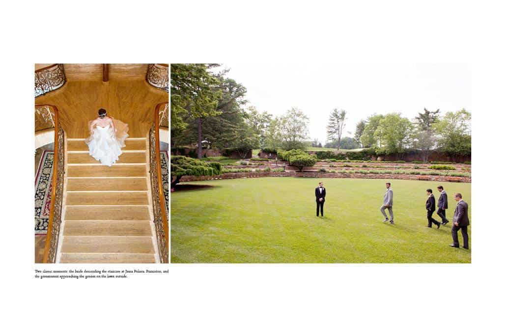 Bride descends the staircase at Jasna Polana and groomsmen await wedding portraits on the lawn