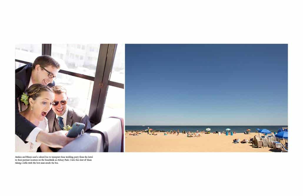 Bride and groom ride a school bus to their wedding in Asbury Park