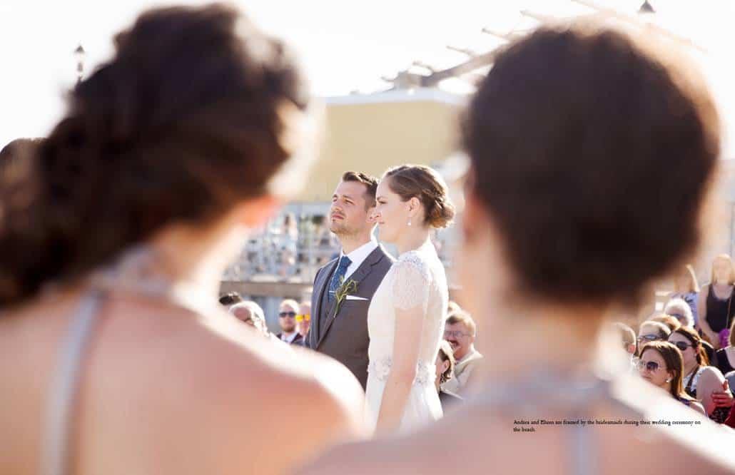 Asbury Park beach wedding in front of Tim McLoone's Supper Club; bride wears Catherine Deane wedding dress