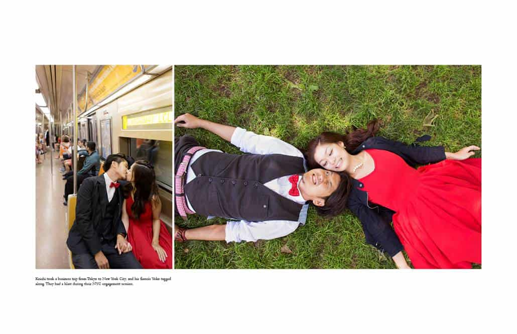 Engagement photos of Japanese couple on NYC subway and lying on the grass in Central Park