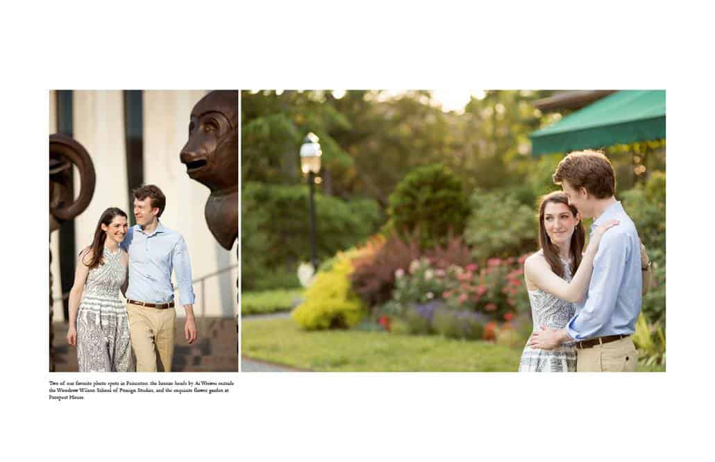Engagement pictures on Princeton University campus at the Woodrow Wilson School and Prospect Gardens