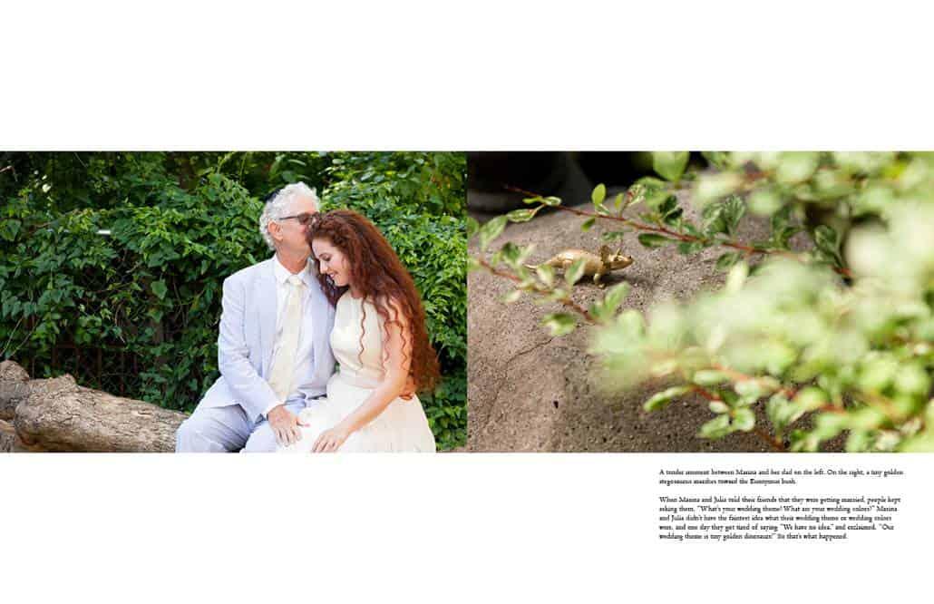 Bride wearing Mara Hoffman wedding dress shares a tender moment with father wearing seersucker suit.