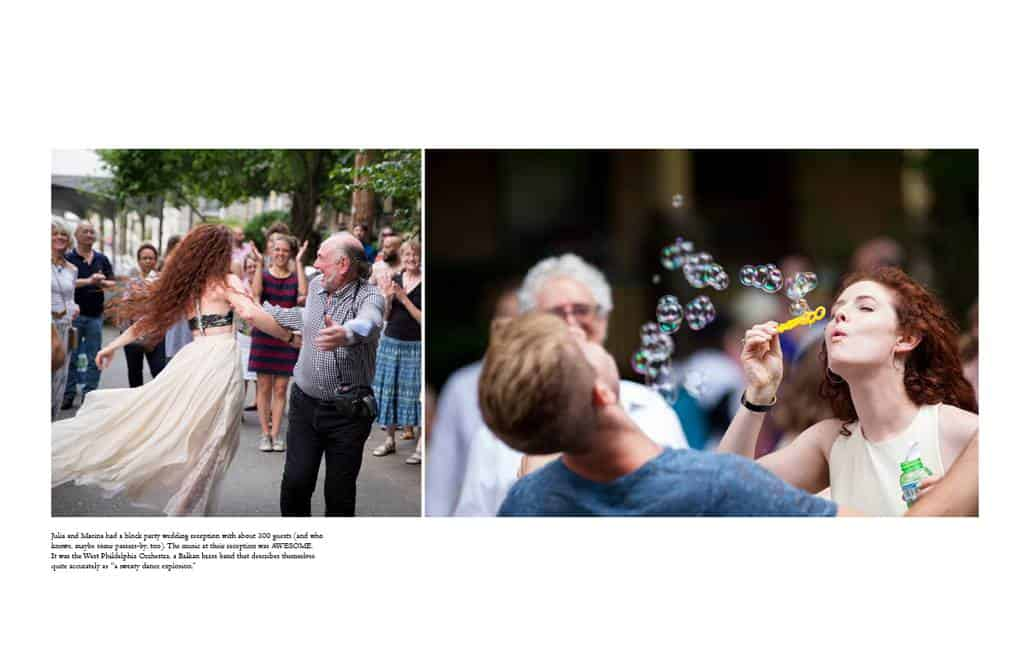 A block party wedding with music by the West Philadelphia Orchestra and bubbles for play.