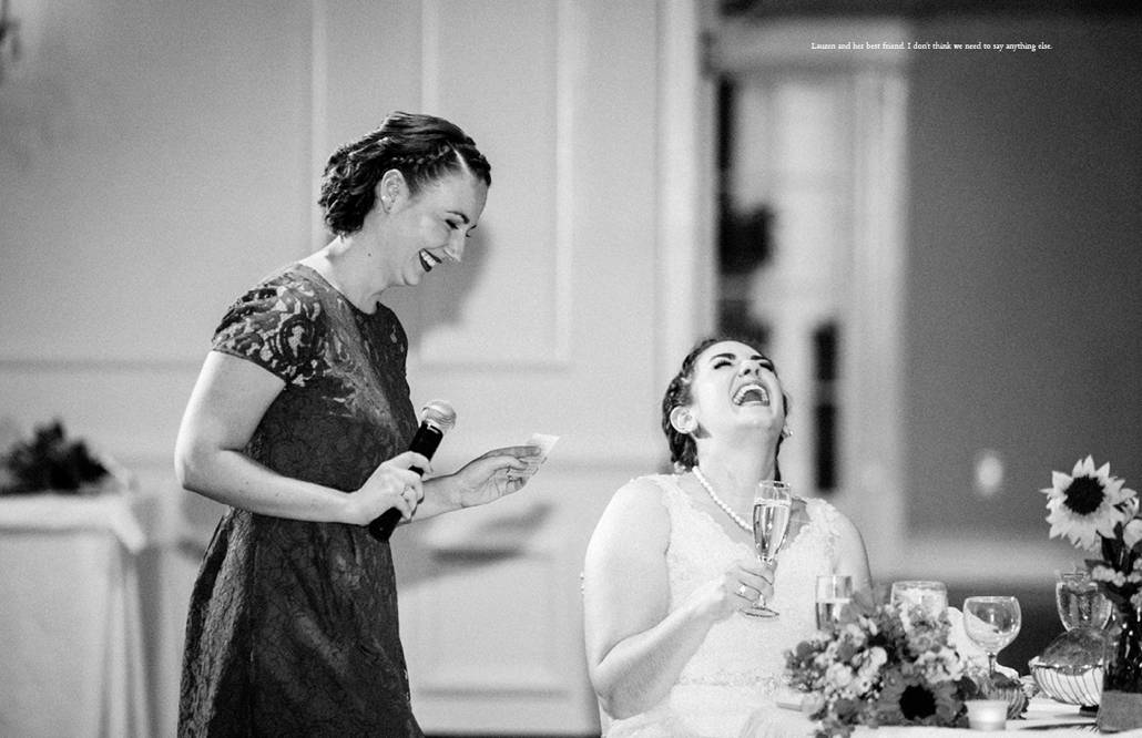 Bride laughs uproariously as bridesmaid offers a toast at Perona Farms wedding