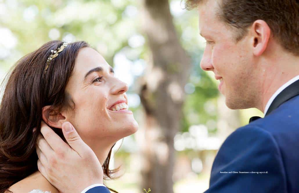 Closeup bride and groom portrait at Governors Island wedding in NYC