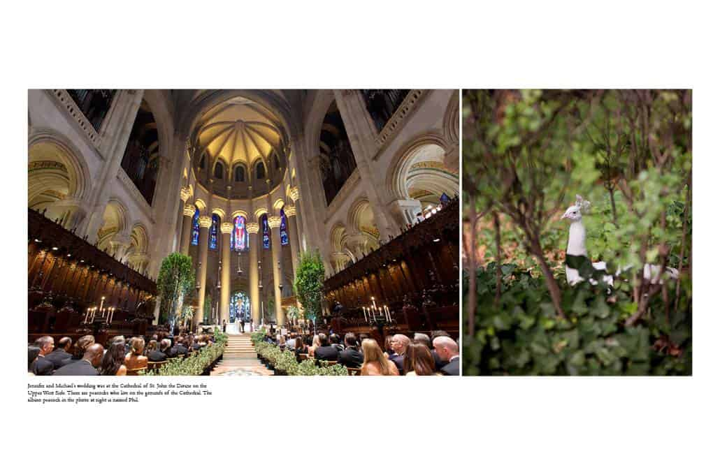 Cathedral of St. John the Divine wedding ceremony with trees and roses lining the aisle; at right is Phil the albino peacock on the grounds of the cathedral.